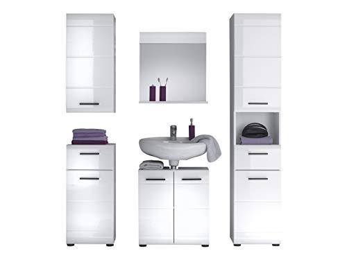 trendteam smart living Badezimmer 5-teilige Set Kombination Skin Gloss, 170 x 182 x 31 cm in Weiß Hochglanz mit viel Stauraum
