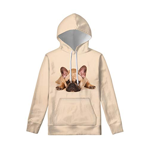 Upetstory Funny Sweatshirts for Girls Boys Kids Teens Drawstring Hoodies Athletic Hooded Pullover Size 11-13 Years French Bulldog Hoodies with Big Pockets Beige