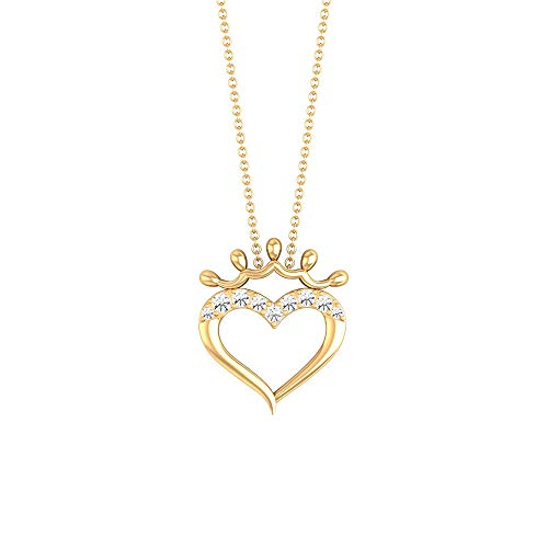 Open Heart SGL Certified Diamond Crown Pendant, Unique Vintage Birthday Anniversary Necklaces, IJ-SI Diamond Love Charm Chain Locket, Mother Day Gifts, 18K Yellow Gold With Chain