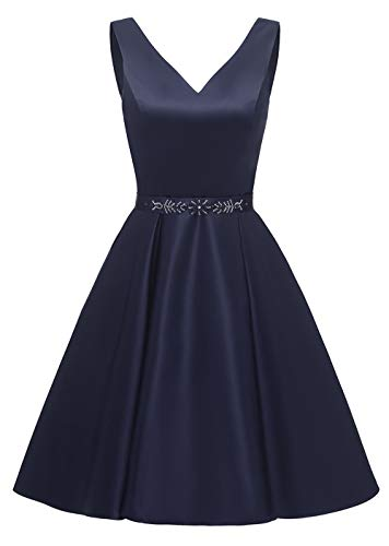 yinyyinhs Sexy Satin V-Ausschnitt Kurze Perlen Abendkleider Rückenfrei Heimkehr Übergröße mit Taschen Größe 46 Marine Blau