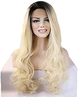 Women's Synthetic Lace Front Wig Medium Long Wavy Light Blonde Natural Hairline Natural Wigs Costume Wig