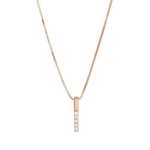Collar Collar De Circonita Cúbica Geométrica De Tira Simple Collar De Encanto De Cadena De Clavícula De Color Plateado para Mujer Oro Rosa
