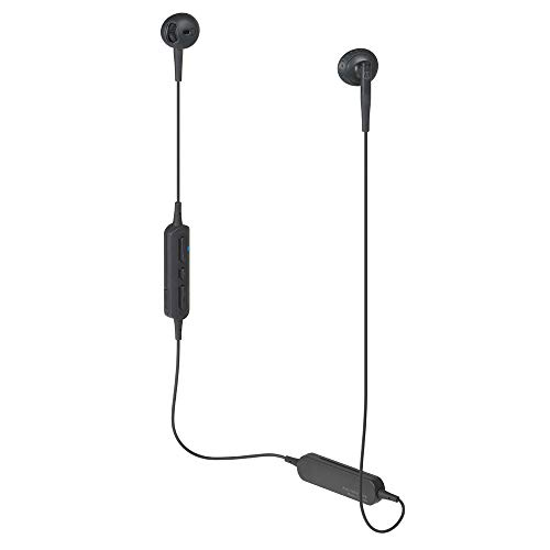 Audio-Technica ATH-C200BT Bluetooth Wireless In-Ear Headphones with In-Line Mic & Control, Black