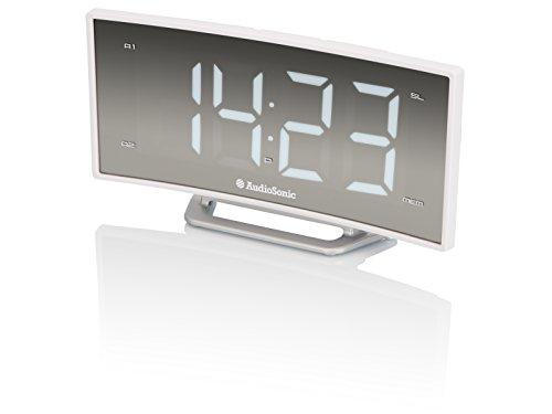 "Audiosonic CL-1494 - Radio Despertador (FM, PLL, Pantalla 1.85"") Color Blanco"