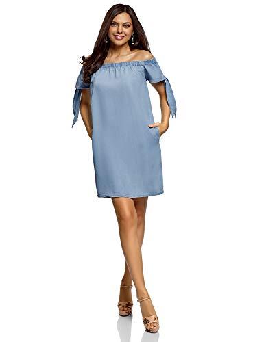 oodji Ultra Damska sukienka z wiskozy z tasiemkami do wiązania na rękawach