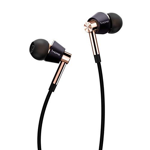 1MORE E1001 Triple-driver Hi-Fi Kopfhörer In-Ear Ohrhörer Hi-Res Audio mit Mikrofon und Fernbedienung Kompatibel mit iOS und Android (golden)