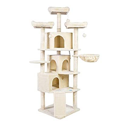 Hey-brother XL Size Cat Tree, Cat Tower with 3 Caves, 3 Cozy Perches, Scratching Posts, Board, Activity Center Stable for Kitten/Gig Cat Beige MPJ0032M