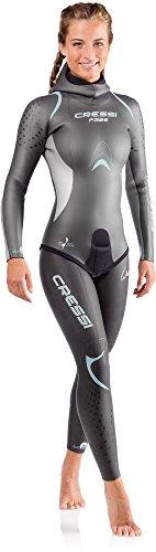 Cressi Free Lady Wetsuit 3.5mm - Apnoe-Neoprenanzug aus 3.5 mm glattem Neopren, Silber Schwarz Farbe, Blau, L