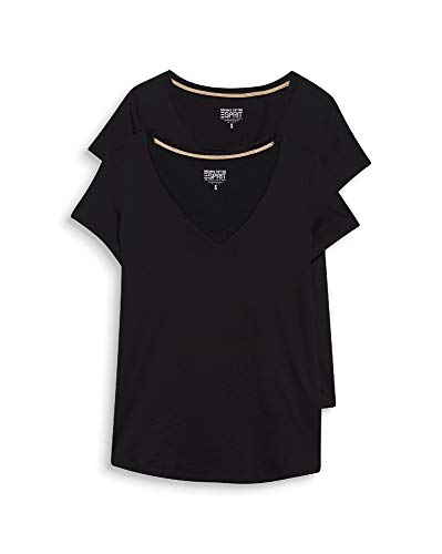 ESPRIT Damen 999EE1N800 T-Shirt, 001/BLACK, L (2er Pack)