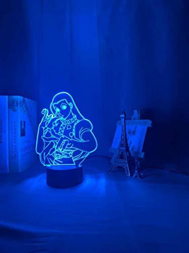 WENJZJ 3D Lamp Anime Hunter X Hunter Illumi Zoldyck Figure Led Night Light Bedroom Decor Light Acrylic for Kid Child Birthday Gift 16 Color