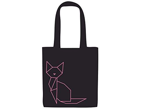 Miniblings Tasche Katze Baumwolltragetasche Beutel Geometrisch schwarz pink
