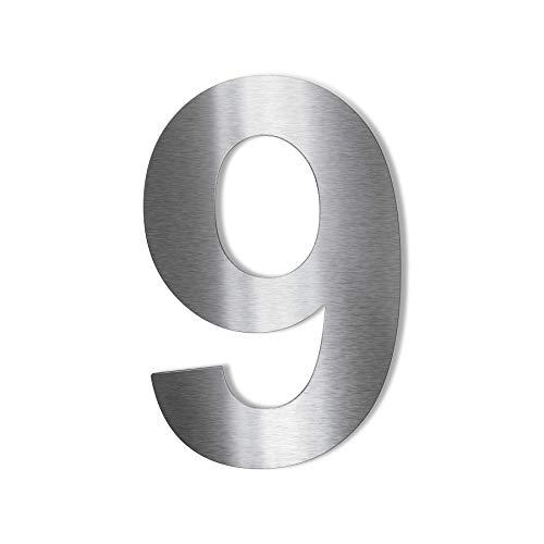 Metzler Edelstahl Hausnummer – modernes Design – wetterfest & pflegeleicht - Schrift Arial – Steckdübel – Höhe 14 cm - Ziffer 9