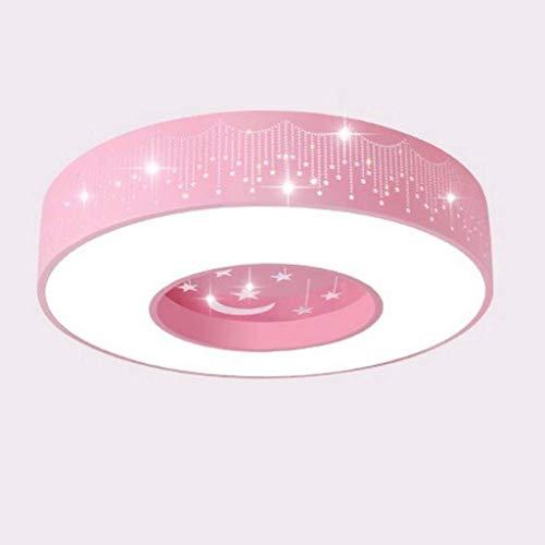 Kinder-Deckenleuchte LED-Stern-Mond-Halb Embedded Lighting SYAODU Junge Mädchen Schlafzimmer Deckenleuchte AC110-240V Rund Clamp 50CM (19.7inch) * 9cm (3,5 Zoll) (Farbe: Pink) (Color : Pink)