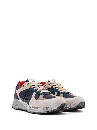 Sneakers in Pelle INVECCHIATA Bianca, Pelle Nocciola, Blu,Beige (40)