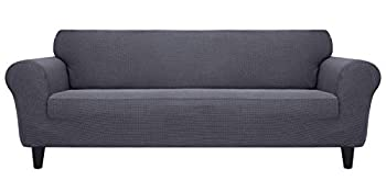 MR COVER Stretchable Elastic Sofa Cover for Living Room 1-Piece 72-85 Inch Line Sofa Stretch Cover Tear-Resistant Polyester and Spandex Mix Jacquard Fabric Perfect for Kids Pets  Dark Gray