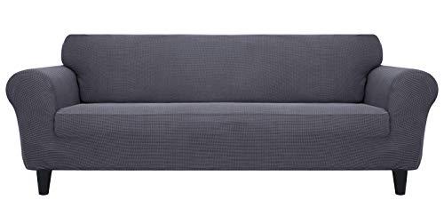 MR.COVER Funda para sofá de 3 plazas, color gris oscuro, muy elástica, de poliéster, antideslizante, impermeable y agradable al tacto, para sofá de 3 plazas de 190 a 230 cm de largo