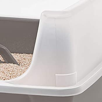 Iris Ohyama, litière pour chat avec pelle - Cat Litter Box - plastique, taupe, 38 x 48,5 x 30,5 cm