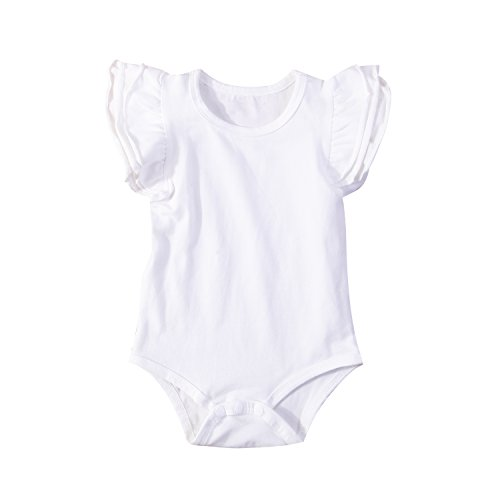 Infant Baby Girl Basic Ruffle Short Sleeve Cotton Romper Bodysuit Tops Clothes ,White,18-24 Months(100)