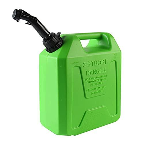 Recipiente de bidón de gasolina de plástico para almacenamiento de combustible Recipiente de aceite diésel Recipiente con boquilla de vertido flexible Fuerte robusto-Green||10L