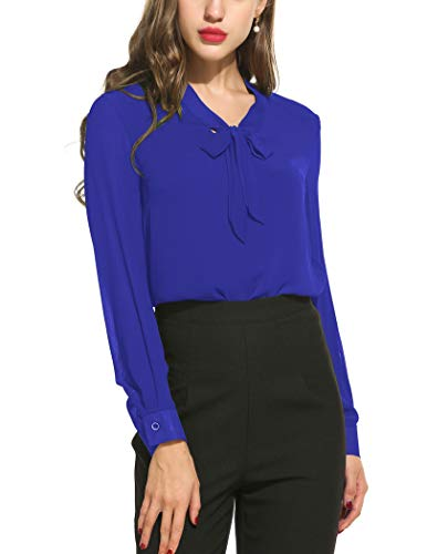 ACEVOG Chiffon Blouses Womens Long Sleeve Collared Work Blouse with Tie,Royal Blue,X-Large