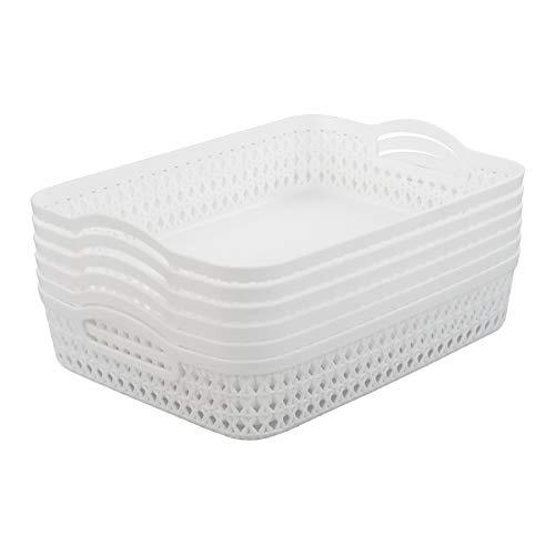 Parlynies - Set di 6 cestini in plastica, formato A4, rettangolari, colore: bianco
