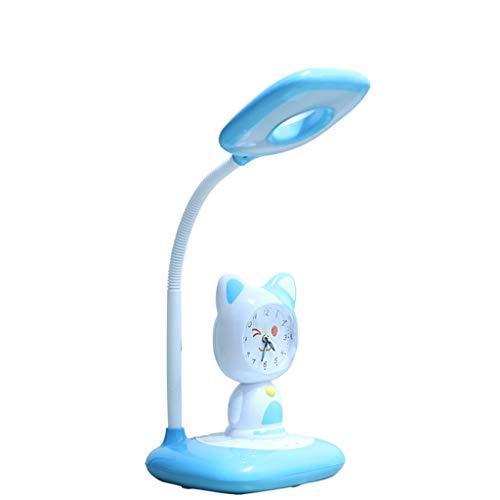 Lámpara de Escritorio Led Protección de los ojos de dibujos animados con la lámpara de escritorio del pequeño despertador táctil Interruptor de atenuación luz de la noche for Estudiantes Estudio y Tra