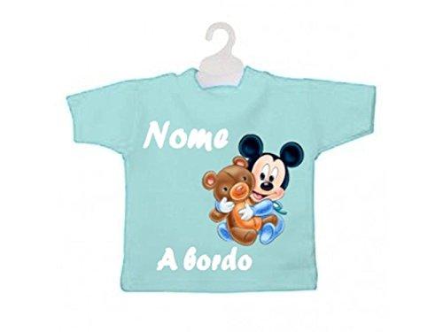 ATELIER DEL RICAMO Mini T-Shirt Bimbo A Bordo Topolino con Peluche-Celeste