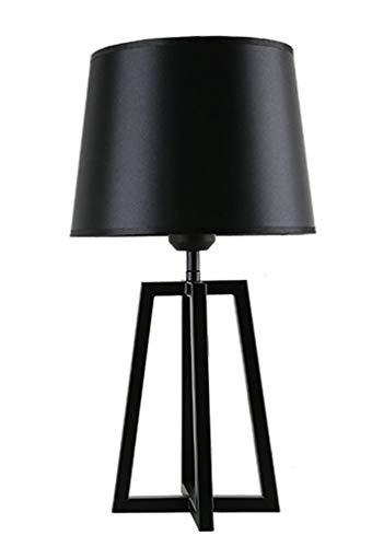 Tischlampe Textil Tischleuchte Schwarz Stoff Nachttisch-Leuchte Leinen Lampenschirm Metall Basis Schlafzimmer Wohnzimmer Kinderzimmer Studieren Hotel Innenbeleuchtung E27