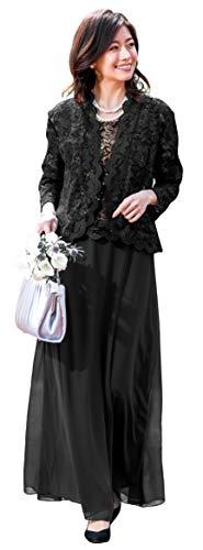 [アールズガウン]ロングドレス 結婚式 母親 親族 マザーズドレス 家族 ネイビー 衣装 フォーマル 袖あり 演奏会 ステージ 発表会 パーティー アンサンブル レディース 30代 40代 50代 60代 FD-180092 (ブラック, L)