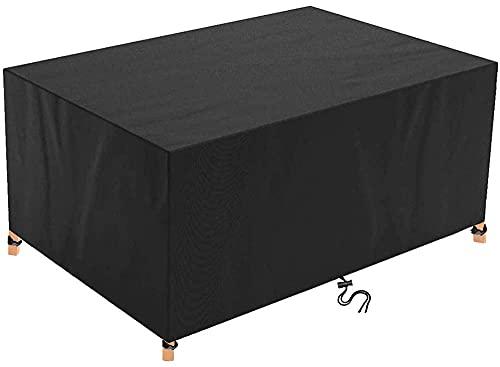 Funda para Muebles de Jardín Exterior ,220x140x110cm(86.6x55.1x43.3in) Impermeable Anti-UV Resistente al Polvo 420D Oxford Mesa de jardín y Silla Cubierta de Protección,Negro