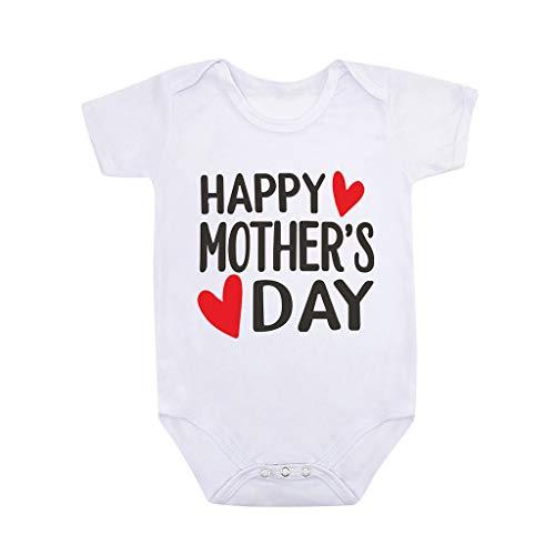 Janly Clearance Sale Mameluco para bebés de 0 a 24 meses, para niños y niñas con impresión de letras, para el día de la madre, mameluco para 12 a 18 meses, color blanco