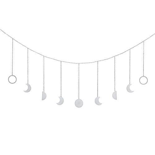 OCIOLI Moon Phase Garland with Chains Boho Hanging Ornaments Moon Hang Art Room Decor for Wedding Home Office Nursery Room Dorm(Silver Moon)