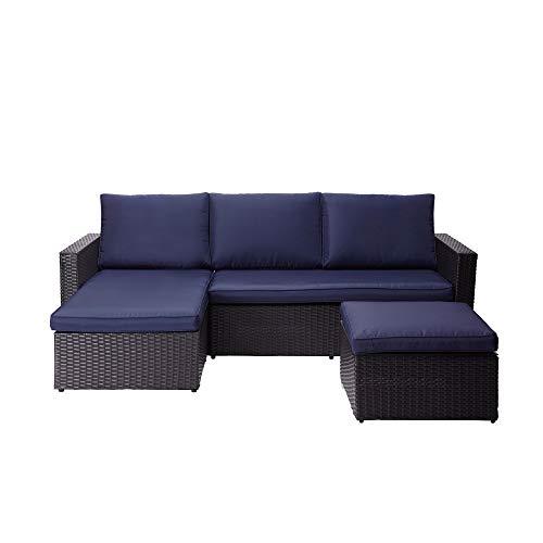Peaktop 3 Piece Sectional Sofa Set Juego de sofás seccionales para Patio (3 Piezas), Azul