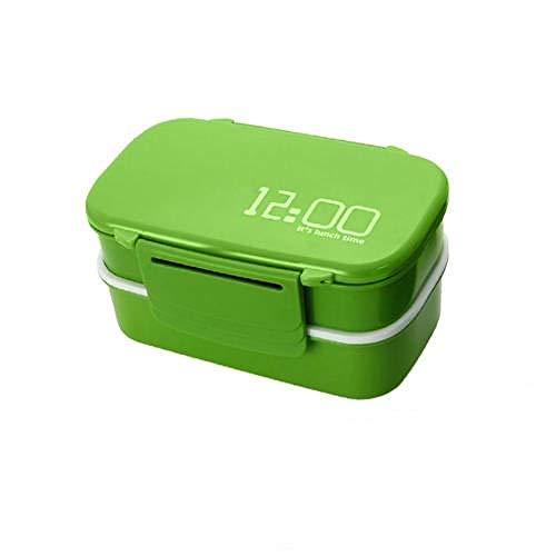 OHHCO Fiambreras 2 Capas de Gran Capacidad 1400 ml Cajas de plástico for niños con Tenedor Cuchara microondas Horno Caja de Alimentos Herramientas de Cocina-marrón Lonchera (Color : Green)