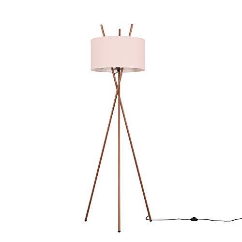 Modern Copper Metal Crossover Design Tripod Floor Lamp with a Pink Cylinder Shade