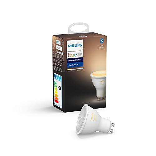 Philips Lighting Hue White Ambiance Faretto LED Singolo Connesso, con Bluetooth, Dimmerabile, Attacco GU10, 6 W, 1 Pezzo, Dispositivo Certificato per gli umani