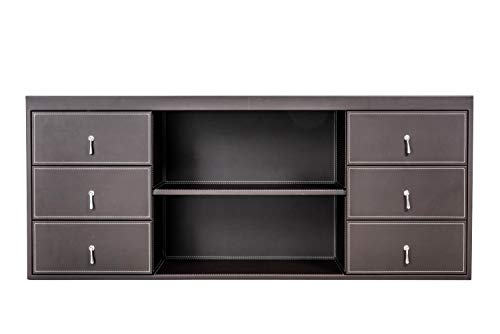 Preisvergleich Produktbild Büro Schrank Büromöbel Jet-Line Padova Leder Kunstleder Sideboard braun Aktenschrank 1600x666x450 mm braun hochwertig