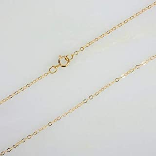 14k Gold Filled Flat Cable Chain Necklace W/ 14K Gold Filled Spring Clasp (18 Inches)