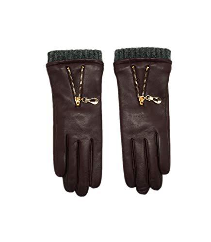 YISEVEN Damen Lederhandschuhe Gefüttert Touchscreenhandschuhe Lammfell Smartphone Handschuhe Leder Damenhandschuhe Warm Autofahrer Fahrerhandschuhe Autohandschuhe Geschenk, Weinrot Mittel/7.0'