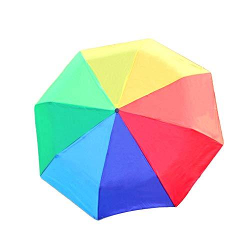 ASDMRQ paraguas, paraguas plegable manual, paraguas arco iris, paraguas compacto portátil a prueba de viento, paraguas plegable al aire libre