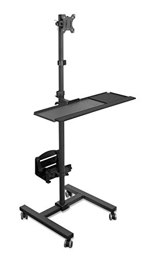 Mount-It! Rolling Computer Cart, Mobile Workstation with Tray Monitor Mount...