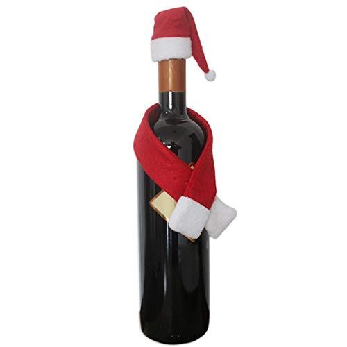 PULABO - Juego de 2 botellas de vino tinto y mini sombreros de Papá Noel + bufanda decoración de Navidad Suministros elegantes y populares