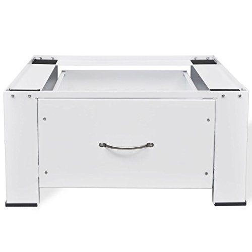 Tidyard Waschmaschinensockel mit Schublade Weiß Pedestal for Washing Machine Base Pedestal with Drawer White
