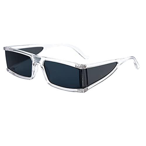 Rectángulo de Moda Pequeñas Gafas de Sol Mujeres Espejo de Lujo Plata Negro Claro Lente de una Pieza Punk Hombres Gafas Sombras UV400 (Color : 3, Size : F)