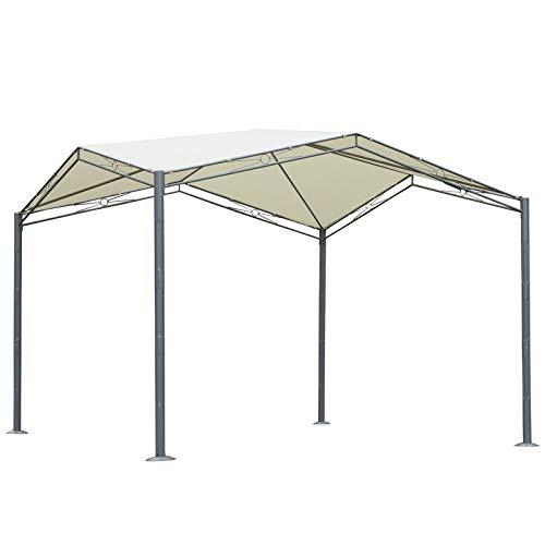 Outsunny Gartenpavillon mit Sonnenschutz, Partyzelt, Metall, Polyester, Creme, 330 x 330 x 265 cm