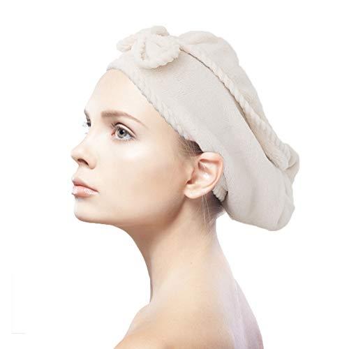 Toalla de secado rápido de pelo, toalla de microfibra, turbante, muy suave, absorbente, con lazo y cierre de botón para todos los peinados, color marfil