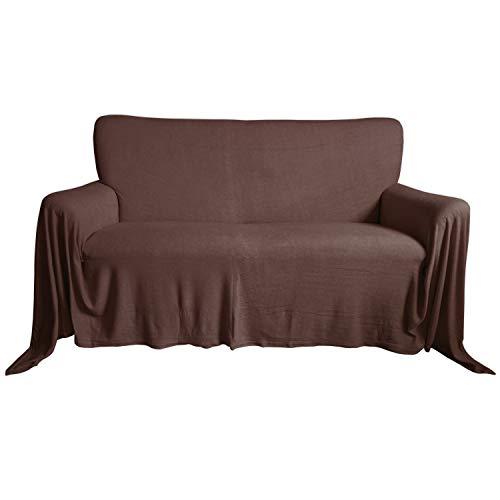 Nurtextil24 Sofaüberwurf Frottee Baumwolle Elastisch (weitere Variante verfügbar) Couch Überwurf Braun 240 x 250 cm