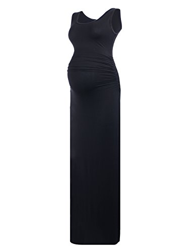 BlackCherry Women's Sleeveless Modal Maternity Maxi Dress Comfortable Tank Dress