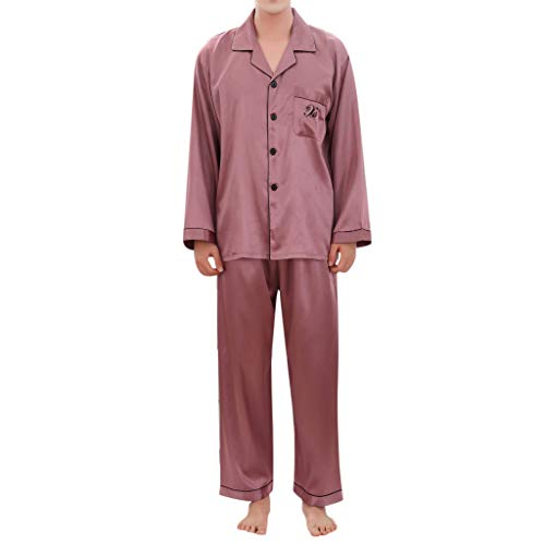 Amphia - Herren Pyjamas Frühling Seide Langarm Hause Pyjamas - Men's Casual Spring Pure Color Langärmeliges bequemes Pyjama-Set für zu Hause