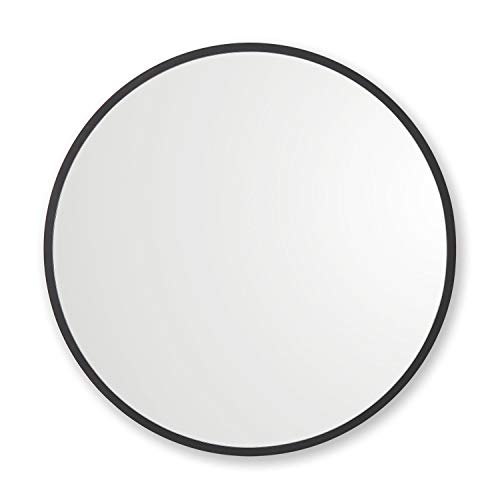 "Better Bevel 24"" x 24"" Black Rubber Framed Round Mirror"